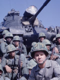Marine Col George Killen with Some of His Men and Medium Tank on Hill at Guatanamo Naval Base