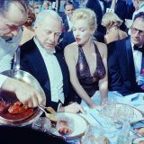 Ambassador Winthrop Aldrich Chats with Marilyn Monroe as Husband Arthur Miller Looks on  Paris Ball