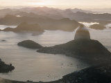 Aerial at Dusk of Sugar Loaf Mountain and Rio de Janeiro