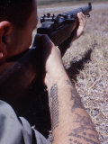 Close-Up of Member of Navy Emergency Ground Defense Force with M-1 Rifle in Guantanamo Naval Base