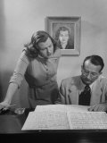 Singer Jo Stafford Working on Music with Her Husband  Arranger Paul Weston