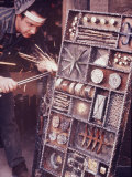 Maker of Metal Furniture  Paul Evans  Hope  PA  Burnishes Door of Steel Chest with Acetylene Torch