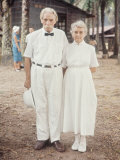 Dr Albert Schweitzer with Ali Silver  Long Time Nurse at His Lambarene Compound