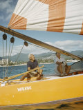 "Hawaiian Men in Sailboat Named ""Waikiki""  Hawaii"