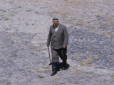 Local Man Crossing Public Square  Registan in Samarkand  USSR