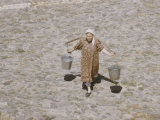 Local Woman Carrying Buckets of Water in Public Square  Registan in Samarkand  USSR