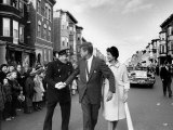 Sen Jack Kennedy with Jackie  Walking Down Middle of the Street During Senate Re-Election Campaign