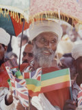 Ethiopian Man with British and Ethiopian Flags During British Queen Elizabeth II's Visit