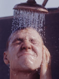 American Soldier from the 11th Armored Regiment Taking a Shower