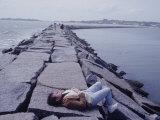 Senator Edward M Kennedy Basking in Sun on Breakwater in Hyannis Port