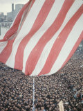 Giant American Flag Flying over a Large Crowd During President Johnson&#39;s Asia Tour