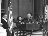VP Harry S Truman Sitting in Background as President Franklin D Roosevelt Makes Inaugural Address