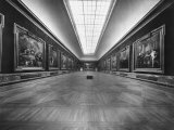 Long Gallery of Paintings at Louvre Museum with Skylight Ceilings