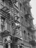 Puerto Rican Boys Climbing on Tenement Fire Escape