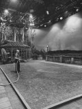 Dick Webb Watering Indoor Lawn on Set at Paramount Studios During Shutdown Caused by Sag Strike