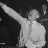 Bernard J Conlin Shouting on Floor of Stock Exchange
