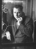 President of Teamsters Union Jimmy Hoffa Making Phone Call from Glassed-In Phone Booth