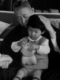 Founder of Matsushita Electronics Corp Konosuke Matsushita with Grandson