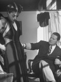 Emmet Joyce of Saks Examining His Design of This Dress of French Silk  WWII