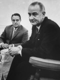 Peace Corp Head Sargent R Shriver Jr and President Lyndon B Johnson