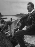 British Actor Michael Redgrave Sitting on Bank of the Thames River with His Children