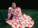 Actress Brooke Shields  Wearing Red and White Flower Print Sundress  Smelling a Red Rose