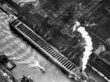 Aerial View of Pittsburgh Steamship Co Ship Carrying Ore to Us Steel Plant