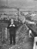 British Politician Aneurin Bevan Posing in Front of in His Home Town During His Campaign