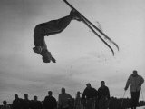 Acrobatic Skier Jack Reddish in Somersault at Sun Valley Ski Resort