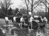 Kids Washing Old Fire Truck