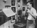Violinist Yehudi Menuhin  20  Tuning His Violin  Prepares to Practice the Schumann Violin Concerto