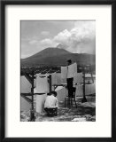 View of Mount Vesuvius from the Town of Torre Annunciata with Men Tending to Drying Pasta