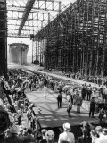Crowds Watching Launching of New Ocean Liner  America  as in Slides into the Water