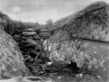 Rebel Sharpshooter Slumped in Hideout  Rifle Perched Against Rocks  End of Battle of Gettysburg
