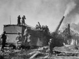US Troops of 35th Coast Artillery Firing from 14 Inch Rail Mounted Gun  Meuse-Argonne Offensive