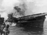Sailors from USS Santa Fe Looking at the USS Franklin Burning Badly from 2 500 lb Japanese Bombs