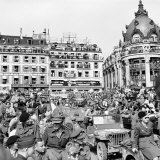Allied Forces and French Civilians Celebrating the Liberation of Paris  Hotel De La Ville