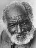 Portrait of an Old African-American Man with a White Beard and Balding Head
