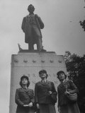 American WACs Standing in Front of Statue of Abraham Lincoln