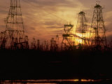 Oil Derricks at Sunset at Baku  Azerbaijan  USSR