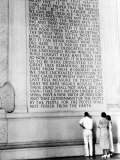 Visitors Reading the Inscription of Pres Abraham Lincoln's Gettysburg Address  Lincoln Memorial