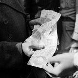 Citizens Waiting in Line to Convert Reich Mark to Deutsche Mark After Russian Blockade of Berlin