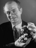 Dr Linus Pauling Holding a Wooden Model of the Molecular Structure of Protein