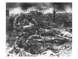 Dawn Rising on Muddy  Horrific Battlefield of Passchendaele as Soldiers Tend to the Dead During WWI