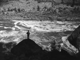 Man Standing in Hell's Canyon  a Gorge of the Columbia River  on the Border of or and Id