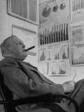 Ludwig Erhard  Economic Chief to West Germany  Sitting with Cigar in Mouth