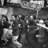 Communist Students Jubilantly Snake Dancing Through the Street  Cursing Americans  Meiji Park