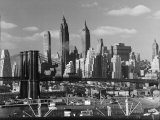 New York City Skyline and Brooklyn Bridge  1948