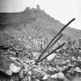 Blasted Ruins of the Town  with the Destroyed Monastery Atop Monte Cassino in the Background