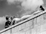American Soldier Chatting with a Sunbathing German Girl in Postwar Berlin